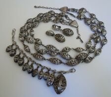Vintage TORTOLANI Necklace Bracelet Clip Earring Set - sculptured metal work