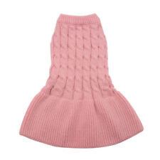 Hand Knitted Dog Jumper Dress Puppy Pet Cat Sweater Skirt Chihuahua Clothes Pink