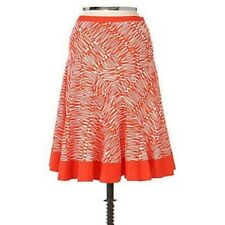 Anthropologie Fei Squiggle Skirt orange flared size 2