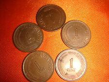 Singapore 1969, One-Cent (1¢) Copper Coins, 5 pieces, UNC