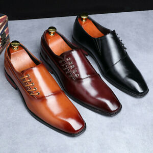 Men's Elegant Oxfords Casual Shoe Work Dress Business Square Toe Slip On Loafers