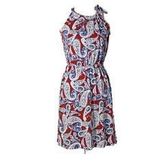 Banana Republic women's dress shift fit flare halter stretch paisley print small