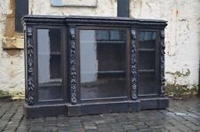 More details for victorian ebonised & heavily carved large wooden green man bookcase credenza