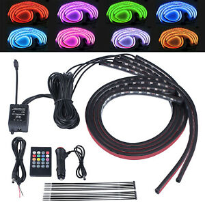 4X 90&60cm RGB LED Strip Under Car Tube Underglow Underbody System Light Kit