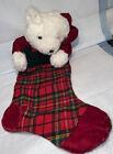 3-D White Teddy Bear Velvet And Plaid Christmas Stocking