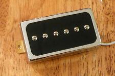 HUMBUCKER SIZED P90 NECK PICKUP ALNICO 2 MAGNETS BLACK ENCASED IN CHROME