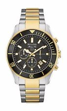 Bulova Marine Star Men's 98B249 Chronograph Black Dial Two-Tone 43mm W