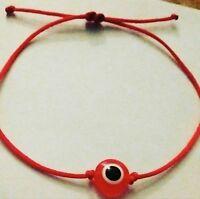 2 Red 1mm string evil eye bracelets adjustable lucky matchingPAIR 10mm eye bead