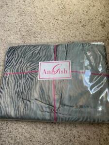 $925 NWT Ann Gish Tigress Sea Blue 100% SILK KING Gathered Bedskirt Animal Print