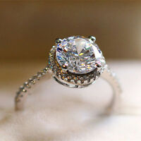 New Round Cut 3ct CZ Women Gift 925 Silver Engagement Band Wedding Ring Size 4-9