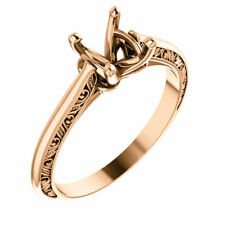 Real 14k Rose Gold Solitaire Setting Semi Mount Round Sculpture Engagement Ring