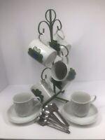 Vintage Cappuccino Lot - 5 Flower Mugs, 2 White Mugs And Saucer & One Mug Tree