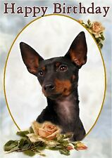 English Toy Terrier Dog A6 Textured Birthday Card BDETOYTERR-1 by paws2print