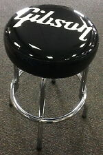 Gibson Guitar Logo Barstool Authentic Black Vinyl Swivel Seat 24 Inch In Box