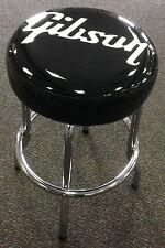 Gibson Guitar Logo Barstool Authentic Black Vinyl Swivel Seat 24 Inch In Box
