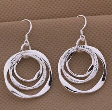 925 Sterling Silver Circle In Circles Abstract Art Dangle Drop Hook Earrings New