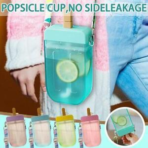 300ML Cute Straw Water Juice Bottle Outdoor Creative Popsicle Plastic Cup Mug ..