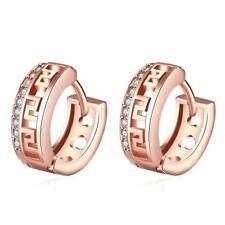 Beautiful Rose Gold Plated 15mm CZ Huggie Hoop Earrings