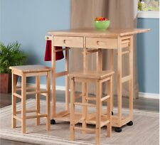 Breakfast Bar Stools Space Saver Compact Pine Wood Drop Leaf Folding Island Cart