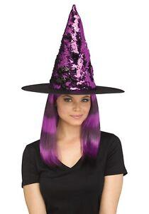 Flip Sequin Purple Witch Hat