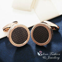 18K Rose & White Gold Plated Round Shaped lattice Retro Pattern Men`s Cufflinks