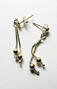 925 Sterling Silver long Drop Dangle Earrings (gold plated)