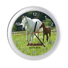 Wanduhr Kinder Pferde Weiß Name Geburtsdatum Fohlen Kinderuhr Kinderzimmer leise