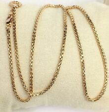 "18k Solid Yellow Gold Italian Round Box Chain/Necklace. 18"". 4.37Grams"