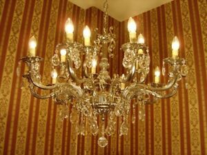"""NICKEL CRYSTAL GLASS CHANDELIER CEILING SILVER LAMP 15 LIGHTS USED DECOR Ø 33"""""""