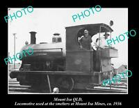 OLD POSTCARD SIZE PHOTO OF MOUNT ISA QLD OLD MINES SMELTER LOCOMOTIVE c1936