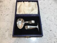 Silver Plate Baby Pusher And Spoon. Francis Howard Sheffield 1870-1923