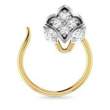 14K Yellow Gold Over Round Cubic Zirconia Cluster Nose Pin Ring Everyday Use