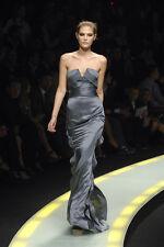 Versace Runway Silver Ruffle Dress IT40