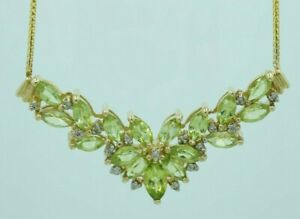 VIDEO- Estate Natural Peridot & Diamond Necklace 9.2g 14KT Lovely Vintage