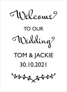 Wedding Wall Art Personalised Names on Vinyl Decal Sticker ideal mirror or sign