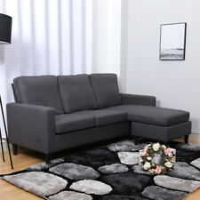 3 Seater Modern Grey Corner Left/ Right Hand L-Shaped Sofa Couch Settee Fabric