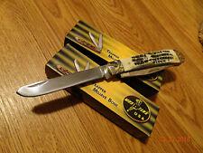 "MUSTANG U.S.A 4 1/4""  POCKET KNIFE GENUINE MOJAVE BONE HANDLE TRAPPER 2BL 440 SS"