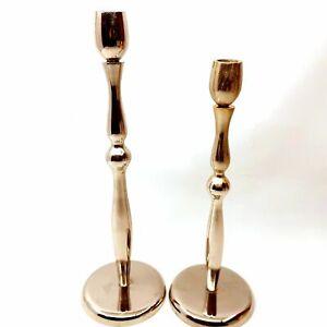 2 Tall Elegant Danish Modern Chrome Candlesticks Candleholders for Taper Candles