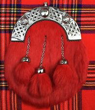 Hommes Robe Complète Sporrans Rouge Lapin Fourrure/Kilt Sporrans Cantle Celtique