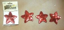 Lot of 4 Red Cupped Sequin Star Appliques w/curved edges Glass Bead Trim sew-on