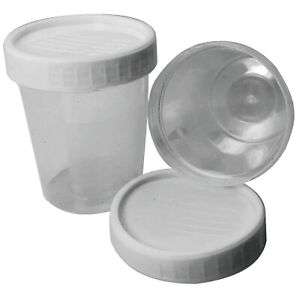 25 x 120ml Plastic Urine Collection Sample Cups Containers Bottles + Screw Lids