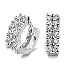 Beautiful 925 Sterling Silver Small Round Crystal Hinged Hoop Sleeper Earrings