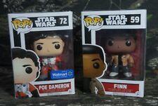 Pop Star Wars Finn #59 & Poe Dameron #72 Walmart Vinyl Bobble-Head Figure Ck