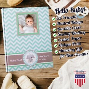 Newborn Journal - Baby First Year Book Album - Baby Shower New Parents Gift