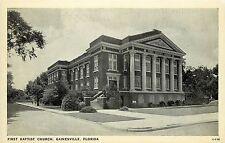 Vintage Postcard First Baptist church Gainesville FL Alachua County