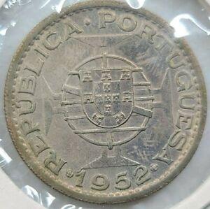 1952 ANGOLA Portuguese Colony Silver 20 Escudos 818K