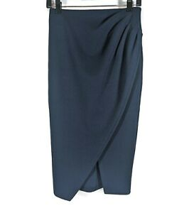 Lapis Navy Blue Asymmetrical Pleated Pencil Skirt Size PXS