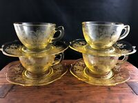 🟢 Set of 4 Lancaster Depression Glass Yellow PATRICK Cups & Saucers