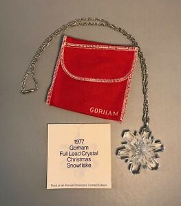 "VTG 1977 Gorham Snowflake Christmas Ornament Lead Crystal Necklace w 24"" chain"