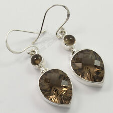 Natural Smoky Quartz Gemstones Amazing Dangle Earrings 925 Solid Sterling Silver